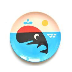 Ingela Arrhenius Melamine Whale Plate By Omm Design Assiette Design, Melamine, Kids Plates, Cute Whales, Doodles, Plate Design, Archie, Scandinavian Style, Pottery