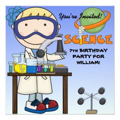 A boy with safety goggles, test tubes, beakers, and areas you can customize…