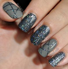 MadamLucks Beauty Journey: In The Grey - Nail Art.  Again, need masking tape.  Or do you paint the glittery one onto Scotch tape?