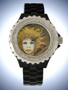 Women's Rhinestone Black Enamel Watch with Art Déco Style gold-yellow Fairy Face