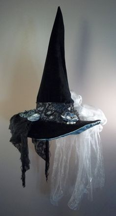 Witch Hat Costume Cosplay Millinery Grey ghost by ferdworthi, $85.00