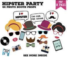 ***INSTANT DOWNLOAD - PDF PRINTABLE*** Quick and easy: order, save on your computer immediately (instant download), print as many as you want and ENJOY !  ☰☰☰☰☰☰☰☰☰  ★ HIPSTER PHOTO PROPS - 18 PAGES PDF - 60 ITEMS INCLUDED  Make your hipster party complete with these fun photo props! Youll have plenty to choose from :  ►Grab a photo and strike a pose poster ►6 mustaches ►1 beard ►3 lips ►2 smocking pipes ►2 woman hairstyles ►2 hats with feathers ►14 different bowties ►4 glasses ►4 sunglasses…
