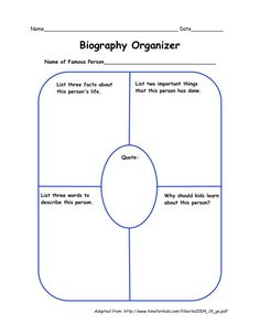 Biography Research Graphic Organizer  Ela Graphic Organizers