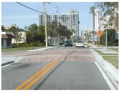 Photograph of an intersection with raised pavement.