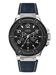 GUESS Mens Denim Black and SilverTone Rigor Standout Sport Watch -- Click on the image for additional details.