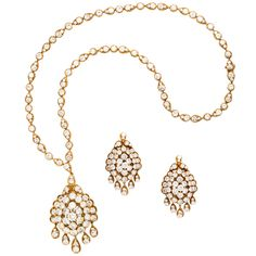 Van Cleef & Arpels Gold Diamond Necklace Earrings Set | From a unique collection of vintage link necklaces at http://www.1stdibs.com/jewelry/necklaces/link-necklaces/