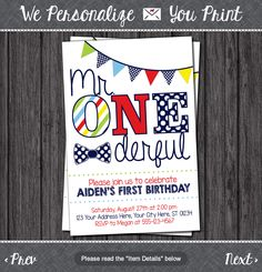 Mr. ONEderful Birthday Invitation - Mr One-derful, Tuxedo, First Birthday Invitations by PuggyPrints on Etsy