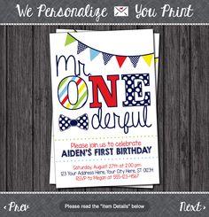 Mr. ONEderful Birthday Invitation - Mr One-derful, Tuxedo, First Birthday Invitations by PuggyPrints on Etsy