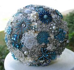 Blue Brooch Bouquet | Instead of a flower bouquet, you can carry a blue brooch bouquet ...