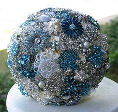 Blue Brooch Bouquet | Instead of a flower bouquet, you can carry a blue brooch bouquet ...