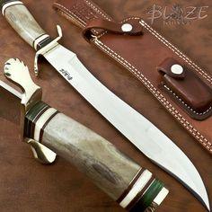 Hand Made RARE CUSTOM COFFIN BOWIE KNIFE | CAMEL BONE BLAZE KNIVES 1094 #BLAZEKNIVES