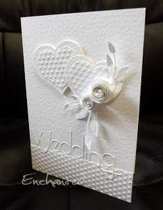 """Less is More"": Week 14 - Colour Challenge - White on White 255 card examples Wedding Shower Cards, Wedding Cards, Diy Wedding, Engagement Cards, Wedding Card Templates, Wedding Anniversary Cards, Embossed Cards, Heart Cards, Love Cards"