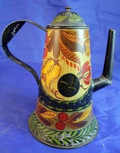 Authentic 19thC  Antique American Tin Tole Toleware Coffee Pot Kettle Floral
