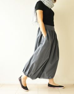 SALE 15% All Around The World Part II.. Charcoal Grey Cotton Harem Pants 2 Sizes Available. $36.50, via Etsy.