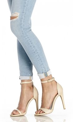 Minimalist leather strappy high-heeled sandals in cream #ad