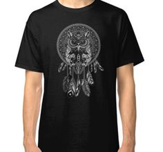 indian native Owl Dream catcher  Classic T-Shirts #classictshirt #tshirt #clothing #digital #colored #pencil #pattern #vintage #blackwhite #ravenclaw #hawk #eagle #animal #bird #tattoo #mayan #indian #americannative