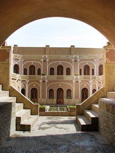 Moshir Caravanserai in Yazd, Iran. Yazd is the capital of Yazd Province, Iran, and a center of Zoroastrian culture.