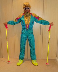 Retro Vintage 80 s Ski Suit Onesie All in one Nevica Neon AQUA Stag Hen £85.00
