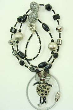 Handmade Cat Animal Beaded Lanyard with Black by BetsysBeadworks, $20.00