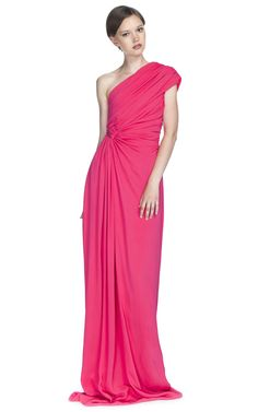 Pink One Shoulder Evening Gown by GIAMBATTISTA VALLI for Preorder on Moda Operandi
