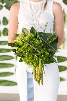 large green leaf and bamboo wedding bouquet - photo by Jessica Lynne Photography
