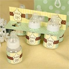 Bottles Up! A 6-Pack of Baby Bottles - Coed Baby Shower Game - 6 Baby Bottles