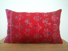 """12""""x 20"""" Bohemian Chic Vintage Chinese Maonan Wedding Blanket Pillow Cover / Brick Red Color Ethnic Dowry Textile / Handwoven Silk Cushion"""