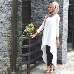 dress with short and long cuts hijab- Neutral hijab outfit ideas http://www.justtrendygirls.com/neutral-hijab-outfit-ideas/