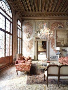 Palazzo Widmann is an early work of Baldassarre Longhena, a leading exponent of seventeenth century Venice. Italian Interior Design, Classic Interior, Italian Home Decor, Cafe Interior, Beautiful Interiors, French Interiors, House Colors, House Design, Cafe Design