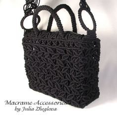 Macrame Bag Dance Of Leaves woman black lace braided by makrame