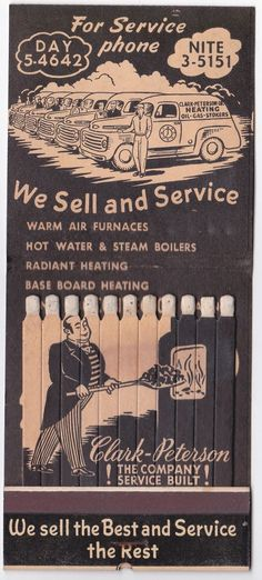 Feature Giant Matchbook 11 Stick Man Shoveling Coal Into Furnace on Matches | eBay