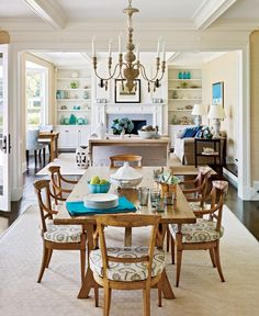"love the flow and the dining furniture - beach colors are perfect - ""Cool colors set the relaxed tone in this oceanfront home where everyone has a room with a view."""