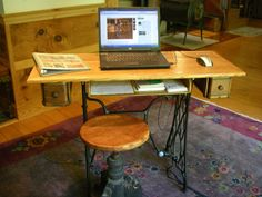 Repurposed antique sewing machine Visit Sleepy Poet Antique Mall to Find everything you need to re-create this look! Sewing Machine Desk, Sewing Machine Projects, Treadle Sewing Machines, Antique Sewing Machines, Furniture Update, Furniture Projects, Furniture Makeover, Diy Furniture, Mini Bar