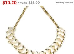 Vintage White Heart Shaped Thermoset Necklace #vintage #heart #necklace