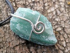 Rough green quartz and sterling silver necklace. by Unics on Etsy, $32.00