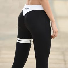 Grey Letter Print Yoga Tights Black And White Collision Breathable Women Fitness Sport Leggings High Elastic Push Up Yoga Pants