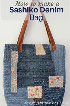 How to make a Sashiko Denim Tote Bag-posted by Vicky.The technique sashiko originates from Japan. Centuries ago, Japanese peasants used a running-stitch technique to patch worn clothes. Cloth and thread were scarce and therefore mending highly valuable. Sashiko Embroidery, Japanese Embroidery, Denim Tote Bags, Denim Purse, Diy Sac, Patchwork Bags, Denim Patchwork, Embroidered Bag, Handmade Handbags