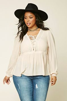 Forever 21+ - A woven top featuring a lace-up V-neckline, cutout paneling, shirred waist, and long cuff sleeves.