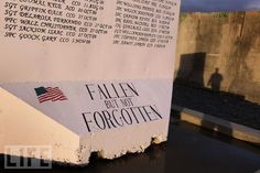 Not Forgotten  A memorial, made from a protective blast wall, is inscribed with the names of fallen soldiers at Forward Operating Base Frontenac in the Kandahar province of southern Afghanistan. The 1st Battalion, 17th Infantry has suffered 21 fatalities since its deployment in summer 2009, the most of any U.S. Army battalion during the Afghan war.