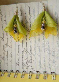 Страната отвъд дъгата: Обици цветя от плат - урок 2 - DIY fabric earrings