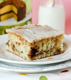 Honeybun Cake -- the cake my family requests more than any other!! It's best served warm. We eat it for breakfast OR dessert -- it's just so easy and the glaze on top is perfect. It's just like a giant, fluffy honeybun!!