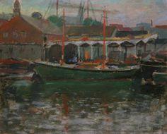 "Giovanni Martino, ""Goucester Harbor,"" pastel on sandpaper, 9 x 12"", Newman Galleries."