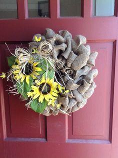 Burlap sunflower spring summer wreath by Fobbit on Etsy, $38.00