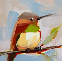 Hummingbird no. 65 original bird oil painting by Angela Moulton