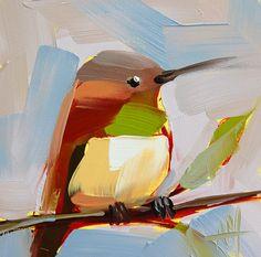 Hummingbird no. 65 original bird oil painting by Angela Moulton