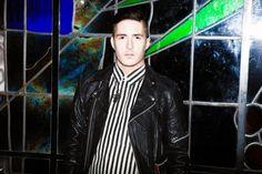 Oliver Vaughn wearing vintage biker jacket with 80's silk stripy shirt