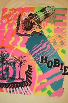 M * vtg 80s 1988 neon HOBIE surf t shirt * medium | eBay