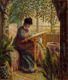 Claude Monet Camille ricama, 1875