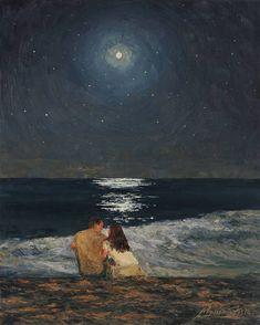 art wallpaper Moonlight Over The Ocean Painting by Marianna Foster Aesthetic Painting, Aesthetic Art, Korean Aesthetic, Arte Inspo, Art Sur Toile, Wow Art, Classical Art, Love Painting, Moonlight Painting