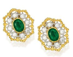 Lot 233 - PAIR OF 18 KARAT TWO-COLOR GOLD, EMERALD AND DIAMOND EARCLIPS, BUCCELLATI